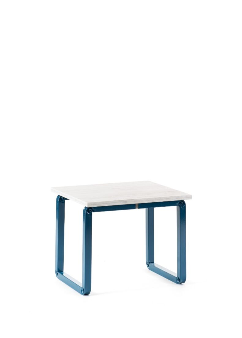 L_CONVERSATION composizione bassa due sedie più tavolo con struttura in metallo cm. 45x45x50h