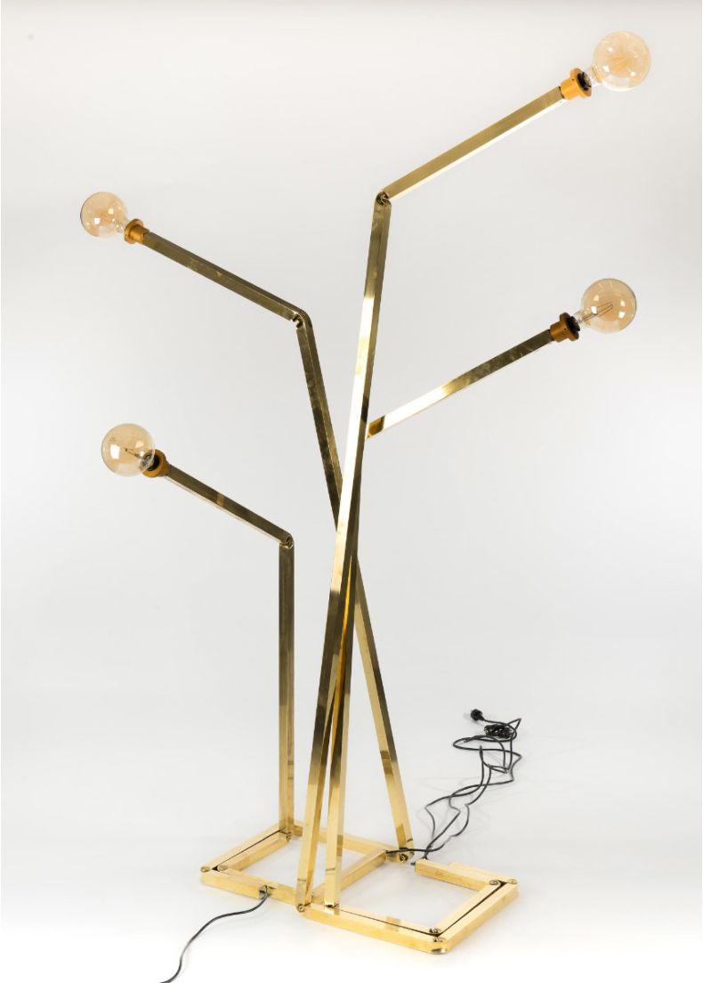 Lampada di design con struttura in ottone per showroom cm. 60x40x205h