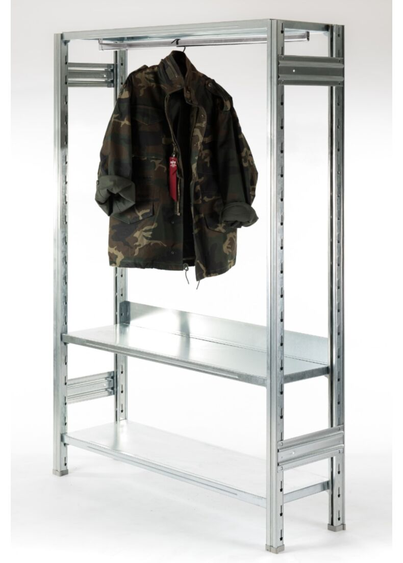 scaffale design in acciaio zincato con barra appendiabiti per negozi e showroom