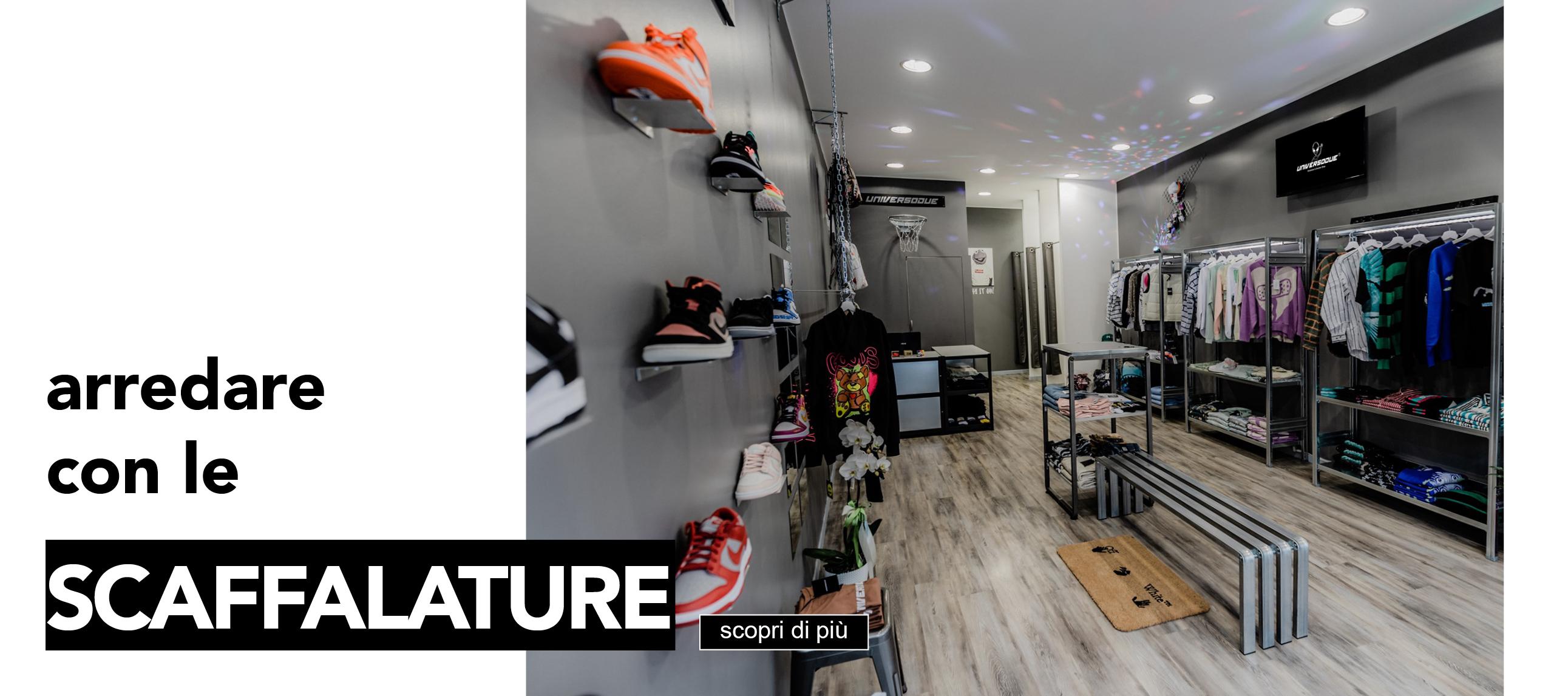 allestire negozi e showroom con scaffalature metalliche di design situer milano