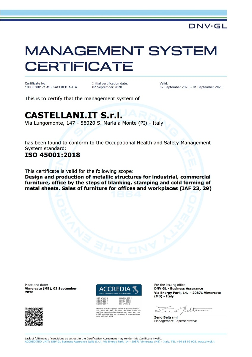 Certificato ISO 45001 - ENG